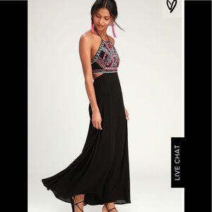 Lulu's Little Beach Black Embroidered Maxi Dress